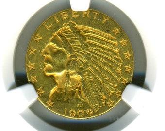 US Gold 1909D Indian Head half Eagle NGC AU 53