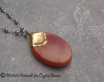 Carnelian Worry Stone Pendant (WSPCA0007)
