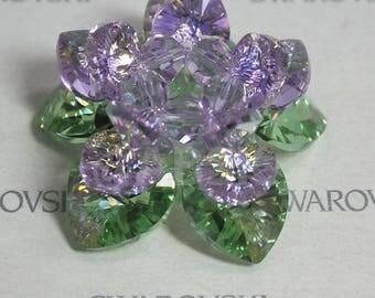 Swarovski Crystal Lotus Ornament for Meditation Prayer YOGA Buddhist / Home Decor  #L003 Violet AB, Peridot AB