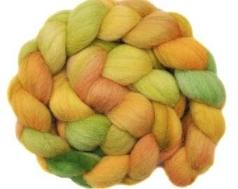 Handpainted roving - Corriedale Cross wool spinning fiber - 4.1 ounces -  Fading Summer 2