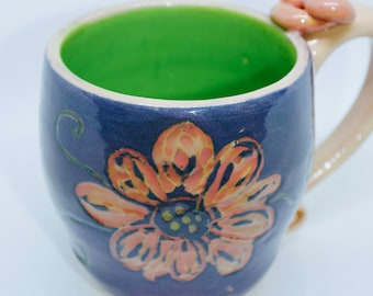 Carved pottery coffee mug