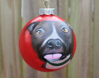 Pit Bull Hand Painted Dog Christmas Ornament