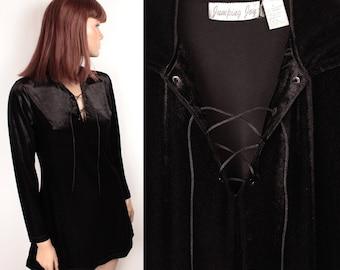 90s stretch velour dress // lace up