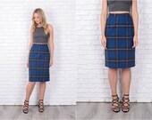 Vintage 60s Navy Blue + Gray Skirt Wool Plaid Pendleton pencil High Waist XS S