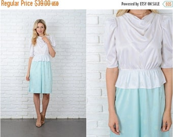 ON SALE Vintage 70s White + Mint Color Block Dress Peplum Puff Sleeve Polka Dot XS S 9014