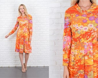 Vintage 60s Red Silk Psychedelic Print Dress Floral Vivid Pleated Mod Party S 10045
