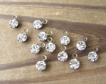 Swarovski Crystal Round Drops Charms 6mm Clear Rhinestones in Brass Ox Settings (12)