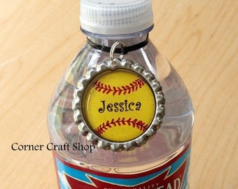 13 Personalized Name Softball Team Bottle Cap  Water Bottle Charm,  Drink tag,  Bottle Label, Sports Bottle Tag  Coach Gift, Team Favors