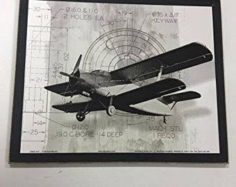 Airplane Wooden Wall Art Sign Boys Plane Bedroom 2 Holes Ea