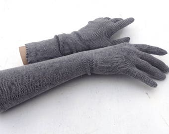 Gloves, Knitted long gloves with fingers, gray gloves, evening gloves,  women arm warmers, hand warmers, winter gloves, elegant gloves
