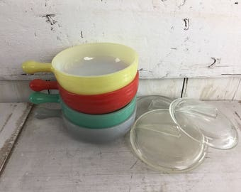 Glasbake bowls with lids four glass mid century modern small baking dishes