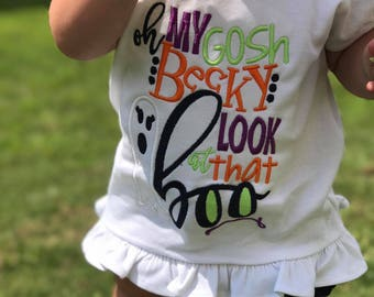 OMG becky, look at that Boo! - Girl's holiday - Halloween Applique Shirt - Girl's Halloween Shirt - Holiday Designs - Monogrammed Shirt
