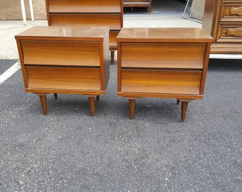 Mid Century Modern night tables, PICK UP Only painting included, Retro bedroom, night stand, MCM, mod