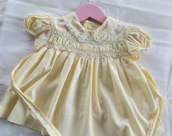Vintage Baby Dress Yellow Hand Smocked Polly Flinders 1950s Baby Dress