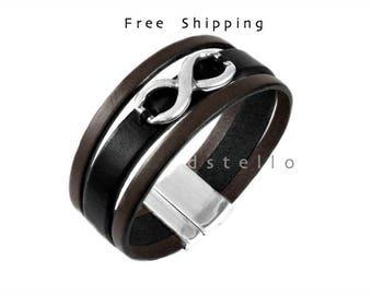 Infinity bracelet - Custom mens bracelet - Men's bracelet - Gift idea - Unisex - Hand sewn infinity symbol - Spanish leather