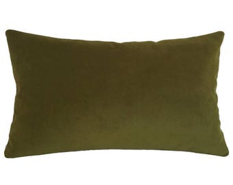 "Deep Wasabi Green Velvet Suede Decorative Throw Pillow Cover / Pillow Case / Cushion Cover / 12x20"""