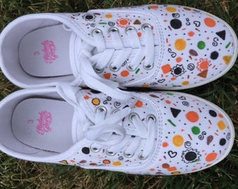 Hand Painted Canvas Tennis Shoes - Girl's Size 3