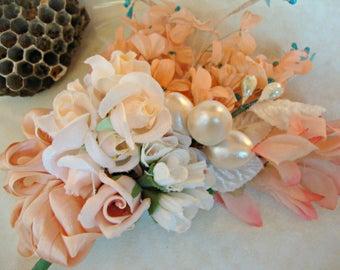 Antique Vintage Velvet Millinery Flowers Posy - 4