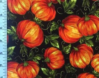 Orange Pumpkin Fabric / Cotton fabric with Pumpkins / Autumn Pumpkin Patch Fabric / 1 and a Half Yard