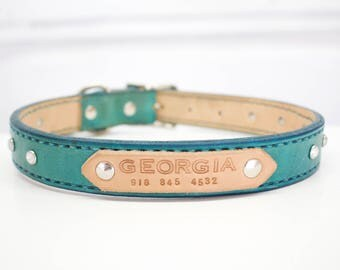 Custom Large Leather Dog Collar with Name and Phone Number and Crystal Rhinestones - Western Leather Dog Collar with Bling - Turquoise