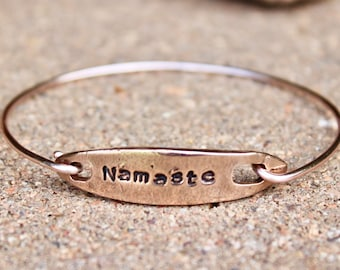 Namaste Rose Gold Bangle Bracelet, Rose Gold Charm Bangle, Namaste Rose Gold Charm Bracelet, Red Bronze Clasp Rose Gold Bangle Bracelet Yoga