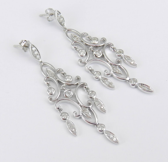 Diamond Earrings White Gold Chandelier Dangle Drop Wedding Earrings Great Gift