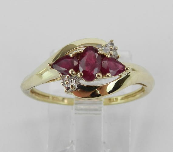 Ruby and Diamond Three Stone Anniversary Ring Yellow Gold Size 7.25 July Gem