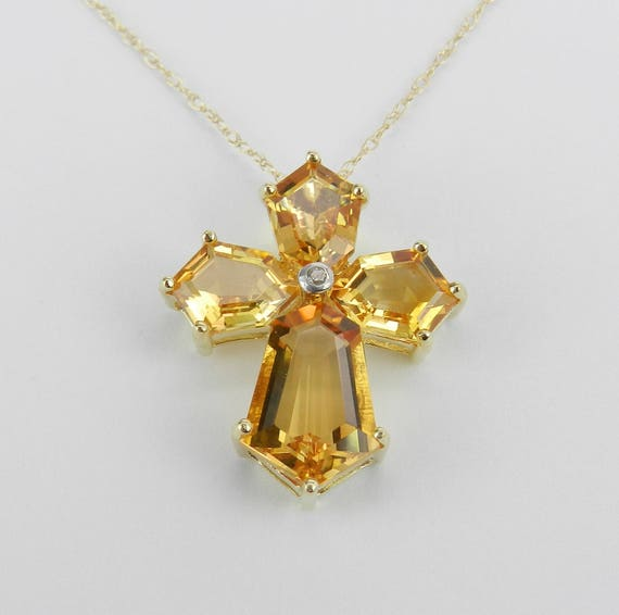 "Yellow Gold Diamond and Citrine CROSS Pendant Necklace 18"" Chain November Gemstone"