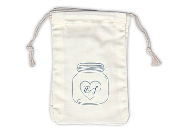 Mason Jar Initials Personalized Cotton Bags for Wedding Favors in Navy Blue - Ivory Fabric Drawstring Bags - Set of 12 (1014)