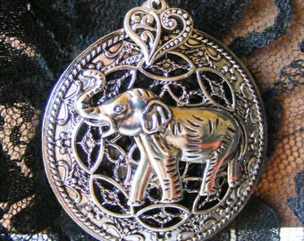 Elephant Jungle Animal ID Badge Name Tag Key Card Holder Necklace Lanyard Retractable Reel Pinch or Slide Clip Antiqued Silver Tone Rhodium