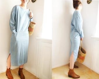Vintage Dress Blue Denim Maxi dress Relaxed baggy dress 80s 90s fashion long sleeves Minimal blue maxi dress stylish