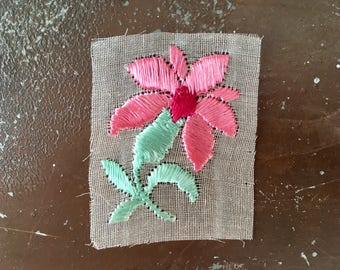 Silk appliqué pink flowers patch vintage rose embroidered patch original unused on gauze vintage sew on bohemian Art Deco
