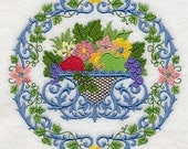 Bountiful Elegance Basket and Wreath Embroidered on Plain Weave Cotton Tea Towel // Iron-on Patch // Kona Cotton Fabric Square