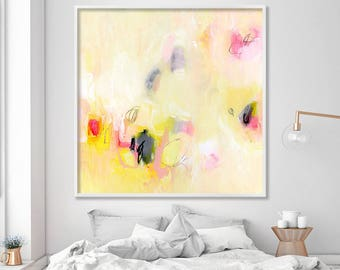 """Giclee print Large wall art Canvas art of abstract painting in yellow """"A Tea In The Desert"""""""