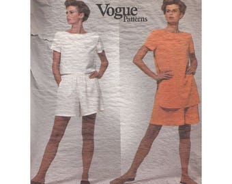 Loose Fitting Pullover Top or Tunic with Skirt and Shorts Very Easy 1990s Vogue Calvin Klein Sewing Pattern 2864 Size 14-18 Bust 36-40