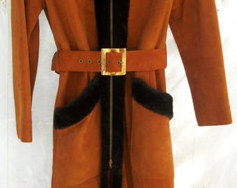 SALE Vintage Princess Coat with Hood ~ Leather ~ Pumpkin with Rich Black/Brown Trim ~ Belted ~ 1970's era ~ Lined