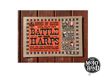 """original hand screen printed House of Blues battle of the Harps poster - harmonica greats 13""""x19"""""""