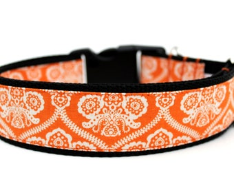 "Orange Damask Dog Collar 3/4"", 1"" or 1.5"" Halloween Dog Collar"