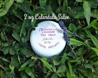 2 oz Calendula Lavender Tree Tree Salve - Calendula Salve - Herbal Salves - Skin Salves - Skin Care - Elusive Wolf