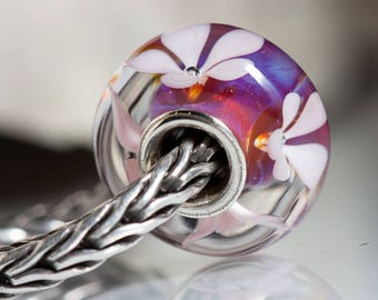 Small core SRA Lampwork Bead  european charm bracelet BHB sterling silver