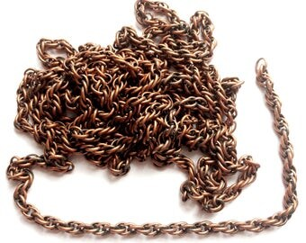 Vintage Rope Connector Chain, 7.5 Feet, Patterned Rope Chain, Jewelry Making, Antique Copper, Jewelry Chain, Designer Style, B'sue,Item03252