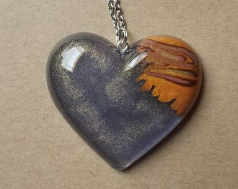 Star Gazing Wood Heart Necklace Pendant
