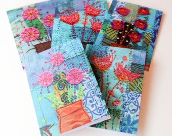 FLOWERS 1 - set of 5 colourful greetings cards (with envelopes)