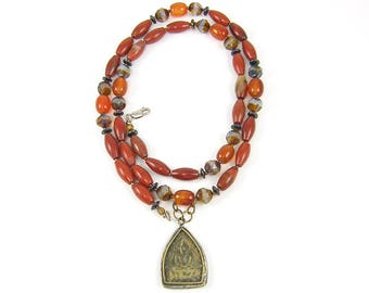 Long Red Jasper and Carnelian Gemstone Bead Necklace with Buddha Pendant |UP