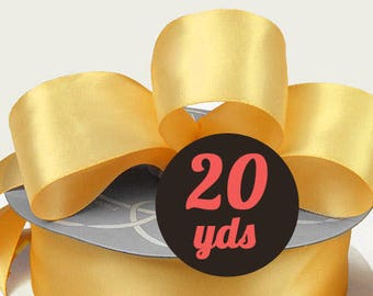 "Satin Buttercream Yellow Ribbon - 7/8"" wide at 20 yards"