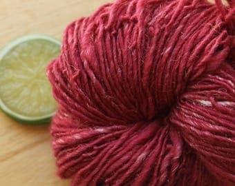 Raspberry Sparkle - Red Wool DK Weight Handspun Yarn Glitz