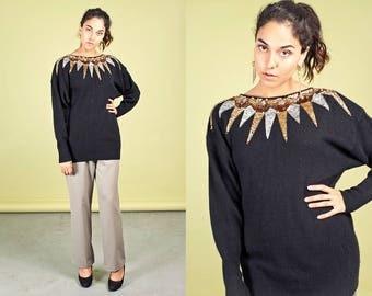80s Metallic Sequin Wool Sweater Vintage Black Oversize Sweater
