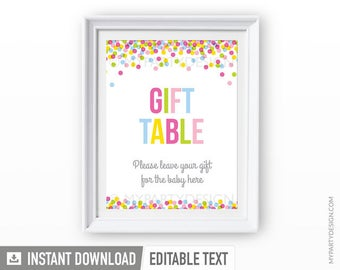 Baby Sprinkle Sign - Baby Shower Editable Sign - Gift Table Sign - INSTANT DOWNLOAD - Printable PDF with Editable Text (BB01)