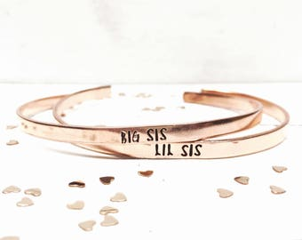 Sorority Sisters Bracelets, Big Sis Little Lil Sis Mid Sis Bracelets, Hand Stamped Bracelet, Skinny Stacking Cuff