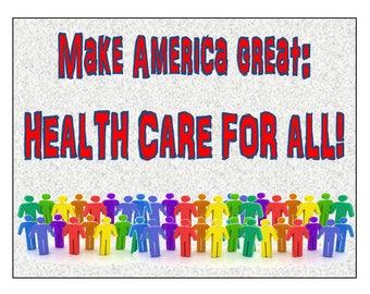 digital download postcard, political healthcare postcard, healthcare for all, make your own postcards